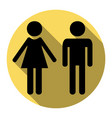 male and female sign flat black icon with vector image vector image