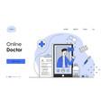 male doctor is working online via smartphone vector image