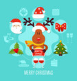 merry xmas round composition vector image vector image