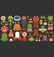 monster and alien creation kit with example vector image