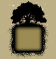 oak tree black silhouette with roots and frame vector image vector image
