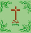 palm sunday cross and frond green background vector image vector image