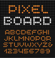 Pixel font alphabet with dots effect letters and vector image