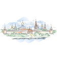 russian monastery and river vector image vector image
