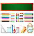 school supplies and chalkboard vector image