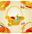 seamless texture fruit in a wicker basket vector image