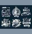 set emblem manicure nail bar or beauty salon