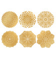 set of 6 hand-drawn gold arabic mandala on white vector image vector image