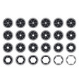 set of black camera shutter icons vector image