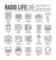 set radio life sound devices thin line icons vector image vector image