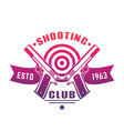 shooting club logo emblem badge with two pistols vector image vector image