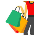 shopping infographic hand holding shopping bag bac vector image