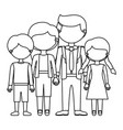 sketch silhouette faceless family group in casual vector image vector image