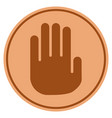 stop hand bronze coin vector image vector image
