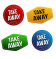 take away sticker or label set vector image