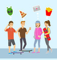 teenagers boys and girls think and dreams flat vector image vector image