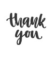 thank you ink lettering isolated on white vector image