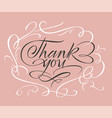 thank you lettering in white calligraphic frame vector image