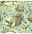 Underwater seamless pattern vintage style vector image vector image