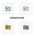 Wireframe icon set four elements in diferent