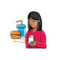 woman using smartphone buying fast food vector image