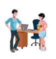 angry man boss yelling at employee woman vector image