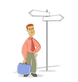 business man waiting on stop vector image