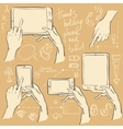 Hands holding smartphone and tablet vector image
