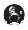 an astronaut looks out of a hole in space vector image vector image