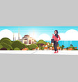 arabic woman walking outdoor arab businesswoman vector image