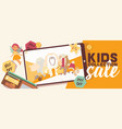 baby shop shopping sale of cartoon kids toys vector image vector image