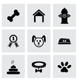 black dog icon set vector image vector image