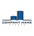 blue building logo vector image vector image