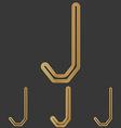 Bronze line j logo design set vector image vector image