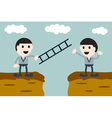 businessman give ladder to his friend vector image
