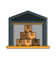 cardboard boxes industry icon image vector image