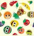 cartoon fruits pattern vector image vector image