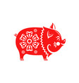 chinese new year 2019 red paper cut pig isolated vector image vector image