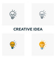 creative idea icon set four elements in diferent vector image vector image