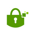 digital safe padlock green symbol logo design vector image