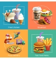 Fastfood 4 Cartoon Icons Square Composition vector image vector image