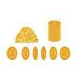flat bitcoin golden coins set icon vector image vector image