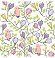floral seamless hand drawn pattern with birds and vector image vector image