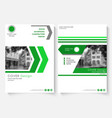 Green cover design template for annual report vector image vector image
