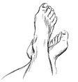 Hand sketch leg vector image vector image