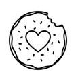 happy valentines day bite sweet donut love thick vector image