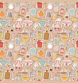 Kitchen set icon seamless pattern