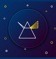 line light rays in prism icon isolated on blue vector image vector image