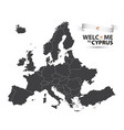 map of europe with the state of cyprus vector image vector image
