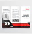 modern red black three fold business brochure vector image vector image